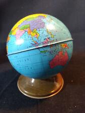 Vtg Collectible Tin Ohio Art World Globe Map Coin Bank Bryan, Ohio