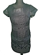 Brand New - COAST BLACK FAUX LEATHER & LACE DRESS - UK Size 10