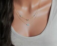 Bohemian Turquoise Beads Double Layer Choker Gold Plated Chain Pendant Necklace