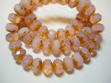 25 8x6mm Fairy Pink Opal Czech Glass Picasso Rondelle beads