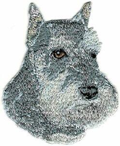 "2.75"" Grey Gray Schnauzer Dog Breed Embroidery Patch"