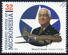 Boeing B-17 Flying Fortress & Henry Arnold WWII Aircraft Stamp (1996 Micronesia)