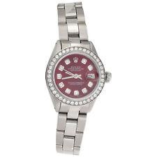 Para Mujer Reloj de diamante 26mm 6917 Rolex Datejust Acero Dial Rojo Malla Ostra 1 CT.