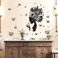 Girl Butterfly Flower Removable Vinyl Decal Wall Sticker Art Room Home Decor USA