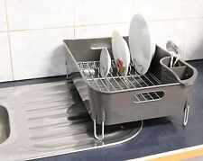 New Premium Quality Grey Dish Rack with Rotating Drainer Clas6389