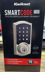 Kwikset SmartCode 915 Touchscreen Electronic Deadbolt Satin Nickel, 99150-802