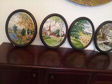 Wiehler Gobelin imágenes 4-estaciones mano bordados.