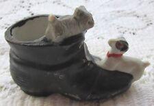 "Old Japan Bisque Black Boot Show W/ Dog & Cat Figurine 3 1/2""D X 1 3/4H Original"