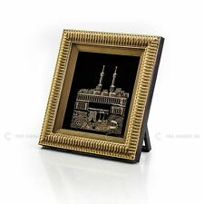 3D Kaaba View Black Gold Islamic Hanging / Stand Frame Turkish 18x20cm Eid Gift
