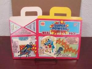 1988 VINTAGE SUPER POWERS FIGURE BURGER KING MEAL BOX UNUSED BATMAN WONDER WOMAN