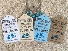 10 Kraft Blue Tags Baby Shower Favour Personalised Bomboneire Popping Soon Boy