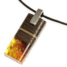 Bernstein Anhänger modern Unikat Mooreiche Holz amber black oak Öse 925er Silber