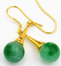Beautiful 10mm Natural Emerald Gemstone 925 Silver Gold-plated/Dangle Earrings