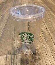 Starbucks Clear Plastic Cold Drink Tumbler To Go Cup Travel 16oz 2010 NO STRAW