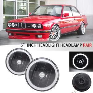 """5"""" 3/4 Inch Round White LED Halo Black Housing Headlight Headlamp"""