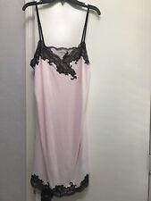 Natori Short Slip Nightie Size Large Light Pink  Satin Silk Lace Nightgown