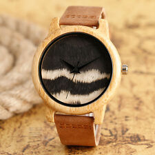 Bamboo Nature Wood Wave Pattern Brown Genuine Leather Band Strap Men Wrist Watch