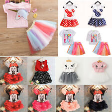 Kid Baby Girl Party Outfit Clothes T-shirt Top + Tutu Skirt Dress Summer Clothes