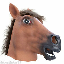 Brown De Goma Latex Horse Head Mask pantomima Raza Noche Vestido De Lujo Traje Adulto