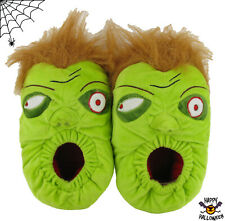 Boys And Mens Zombie Face Novelty Green Warm Fluffy Slippers Size UK 1-12