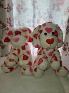 2 Build-A-Bear Happy Dogs White with Red and Pink Hearts Plush Stuffed Animal