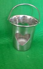 Metal Bucket Pale With Heart Tea light Holder lantern Glass Insert