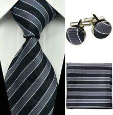 Cravate en soie rayures grises et noires NEUVE + boutons de manchette + pochette