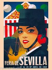 1969 Feria de Sevilla Seville Spain Spanish Vintage Travel Advertisement Poster