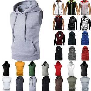 Men's Sleeveless Slim Fit Sweatshirt Hoodies Hooded Vest Sports Gym Casual Tops