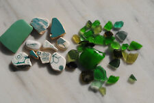genuine Aegean Sea surf tumbled beach finds sea glass & pottery shards mix green