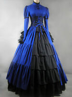 Gothic Vintage Victorian Blue Black Maxi Ball Gown prom long sleeve Lolita Dress