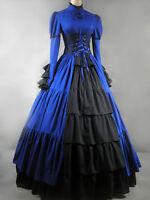 Gothic Lolita Victorian Aristocrat Blue Long Dress Gown S M L XXL XS