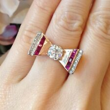 1.30 ct Retro Old European cut Diamond and Ruby Bow Ring 14K Rose Gold - HM774SN