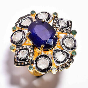Natural Emerald Blue Sapphire Gemstone Ring,Pave Diamond ring,925 Silver ring