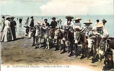 Cliftonville (Margate). Donkeys on the Sands # 12 by LL / Levy. Coloured.