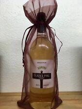 NEW 10 Pcs - ULINE Sheer Organza Wine Bottle Gift Bags - Burgundy - Gifts/Favors