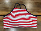 Women's Sea Angel Red And White Stripe Patriotic Bikini Top Size Medium NWOT