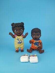 "Hasbro Baby Alive AA Baby Gotta Bounce Snackin Luke 13"" Doll Lot Of 2 + Outfits"