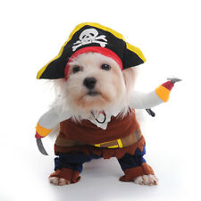 Pet Dog Cat Halloween Costume Funny Pirate Captain  Dress Up Suit Party Clothes