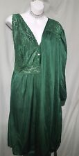 """NEW GREEN 2 PIECE 41"""" LONG W/ STRETCH LACE BODICE  PEIGNOIR SET WOMAN'S 2X GIFT"""