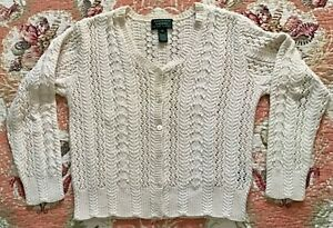 Vintage Cream Lauren Ralph Lauren Hand Knit Cardigan Sweater M 100% Cotton