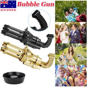 Kids Automatic Gatling Bubble Gun Toys Summer Soap Water Bubble Machine 2-in-1