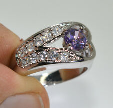 Ladies Brilliant Amethyst 18ct White Gold GF Gift Wedding Gemstone Ring Size 7-O