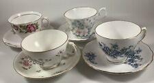 Vintage Antique Bone China English Teacups and Saucers Lot of 4