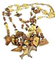 Ethnic Tribal Necklace, 1980's Natural Wood Free Form Coco Beads, Rustic Exotic