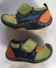 Umi Puggle Boys Lime Green/Orange/Brown Leather Shoes sz 2.5 Us/1.5 Uk/17 Eur