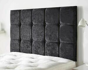Luxury Crushed Velvet Headboard Upholstered Cubes Button Wall or Divan Bed Head