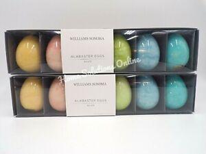 Williams Sonoma Alabaster Hand Carved Easter Eggs Decor Set of 12 Multi #9989X