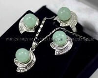 Hot Real Green Jade Round Beads Earrings & Ring & Necklace Pendant Set AAA