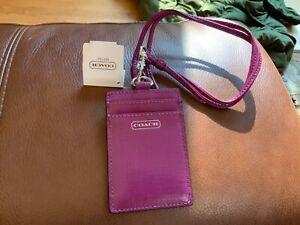 NWT COACH PURPLE (AMETHYST) Lanyard ID Card/Case/Badge Holder #67752